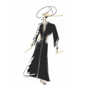 שמלה שחורה עם קווים חדים